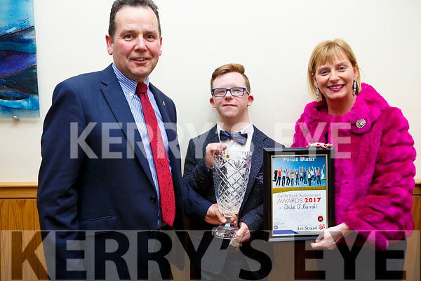 Dale Murphy from Listowel with his mom and dad, Paul and Claudette, who the overall winner at the Kerry Garda Lee Strand Youth Achievements Awards held in the Ballyroe Heights Hotel on Friday night last.