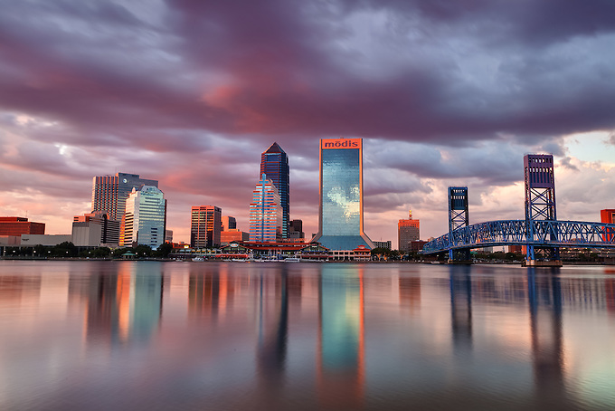 The iconic skyline of Jacksonville at sunset.