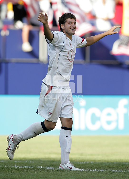 July 24, 2005: East Rutherford, NJ, USA:  USMNT midfielder Santino Quaranta (9) celebrates after covering his penalty kick during the CONCACAF Gold Cup Finals at Giants Stadium.