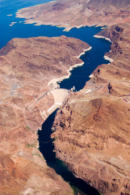 Aerial of Colorado River, Lake Mead and Hoover Dam on border of Arizona, AZ, Nevada, NV, water source, flood control, landscape, engineering feat, land erosion, image nv441-18524.Photo copyright: Lee Foster, www.fostertravel.com, lee@fostertravel.com, 510-549-2202