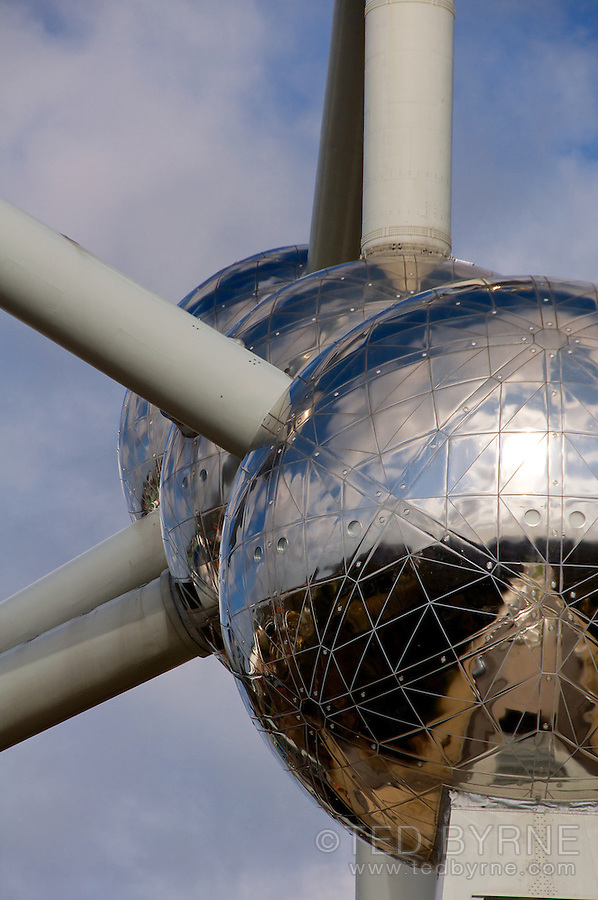 View of the central spheres of the Atomium in Brussels, Belgium