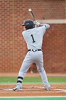 Michael Paez (1) of the Coastal Carolina Chanticleers at bat against the High Point Panthers at Willard Stadium on March 14, 2014 in High Point, North Carolina.  The Panthers defeated the Chanticleers 3-0.  (Brian Westerholt/Four Seam Images)