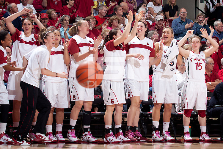 STANFORD, CA - February 12, 2011: The Stanford Cardinal women's basketball team celebrate a Toni Kokenis three during Stanford's 62-52 win over Washington at Maples Pavilion.