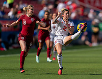 FRISCO, TX - MARCH 11: Ellen White #18 of England defends Mapi Leon #16 of Spain during a game between England and Spain at Toyota Stadium on March 11, 2020 in Frisco, Texas.