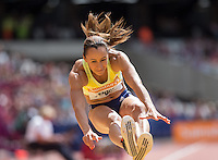 Jessica ENNIS HILL of GBR (Women's Long Jump) during the Long Jump during the Sainsbury's Anniversary Games, Athletics event at the Olympic Park, London, England on 25 July 2015. Photo by Andy Rowland.