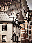 Chateau Frontenac and other historic buildings rooftops on the streets of Old Quebec City, Quebec, Canada. Ville de Québec.