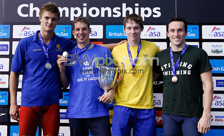 PICTURE BY VAUGHN RIDLEY/SWPIX.COM - Swimming - ASA National Championships 2012 - Ponds Forge, Sheffield, England - 20/06/12 - Men's 400m Freestyle Final. (L-R) Silver - Ieuan Lloyd, Gold - David Carry, Commemorative Bronze - Sergii Frolov, Bronze - Lewis Smith.