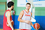 Conversation between Javier Beiran and Xavi Rabaseda (r) after the training of Spanish National Team of Basketball. August 07, 2019. (ALTERPHOTOS/Francis González)