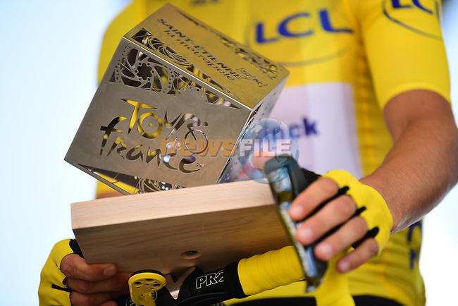 Race leader Yellow Jersey Julian Alaphilippe (FRA) Deceuninck-Quick Step at sign on before Stage 9 of the 2019 Tour de France running 170.5km from Saint-Etienne to Brioude, France. 14th July 2019.<br /> Picture: ASO/Pauline Ballet | Cyclefile<br /> All photos usage must carry mandatory copyright credit (© Cyclefile | ASO/Pauline Ballet)