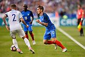 June 13th 2017, Stade de France, Paris, France; International football friendly, France versus England; LUCAS DIGNE (fra) cuts across Trippier (eng)