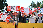 Fans at sign on before the start of Stage 5 of the 2018 Tour de France running 204.5km from Lorient to Quimper, France. 11th July 2018. <br /> Picture: ASO/Pauline Ballet | Cyclefile<br /> All photos usage must carry mandatory copyright credit (&copy; Cyclefile | ASO/Pauline Ballet)