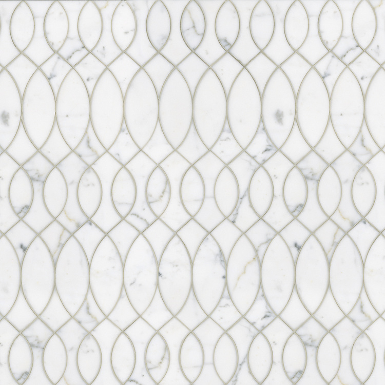 Anisa, a waterjet stone mosaic shown in polished Calacatta Tia, is part of the Silk Road® collection by New Ravenna.