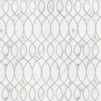 Anisa, a waterjet stone mosaic, shown in polished Calacatta Tia, is part of the Silk Road Collection by Sara Baldwin for New Ravenna Mosaics. <br />