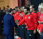 Egyptian President Abdel Fattah al-Sisi honors players of his country's national football team in Cairo, following their win over Congo and securing a place at the 2018 World Cup in Russia, on October 9,2017. Egypt last qualified for the World Cup in 1990 with the record seven-time African champions suffering numerous heart-breaking failures since. Photo by Egyptian President Office