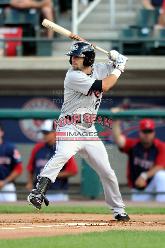 Tri-City Valley Cats outfielder Andrew Aplin #27 during a game versus the Lowell Spinners at LeLacheur Park In Lowell, Massachusetts on July 1, 2012.   (Ken Babbitt/Four Seam Images)