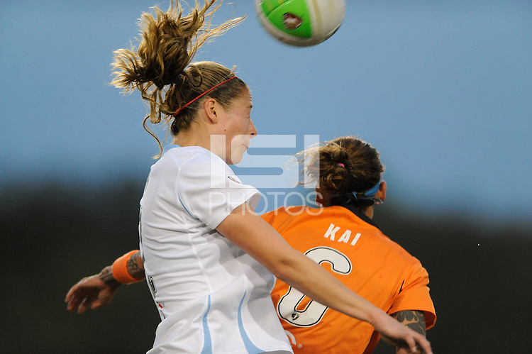 Marian Dalmy (2) of the Chicago Red Stars and Natasha Kai (6) of Sky Blue FC go up for a header. Sky Blue FC defeated the Chicago Red Stars 1-0 in a Women's Professional Soccer (WPS) match at Yurcak Field in Piscataway, NJ, on April 11, 2010.