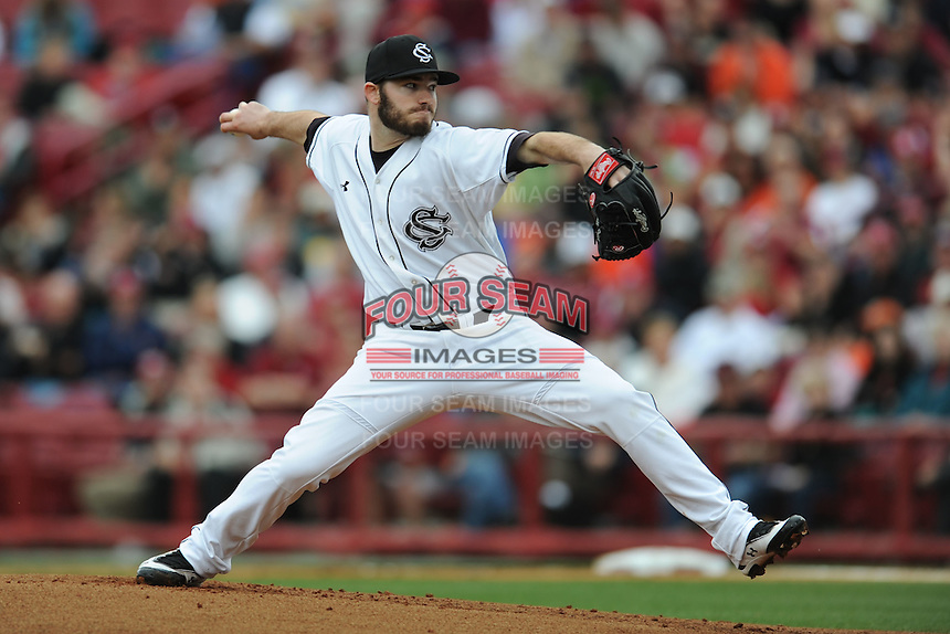 Starting Pitcher Matt Price #22 of the South Carolina Gamecocks delivers a pitch in the top of the first inning against the Clemson Tigers at Carolina Stadium on March 3, 2012 in Columbia, South Carolina. The Gamecocks defeated the Tigers 9-6. Tony Farlow/Four Seam Images