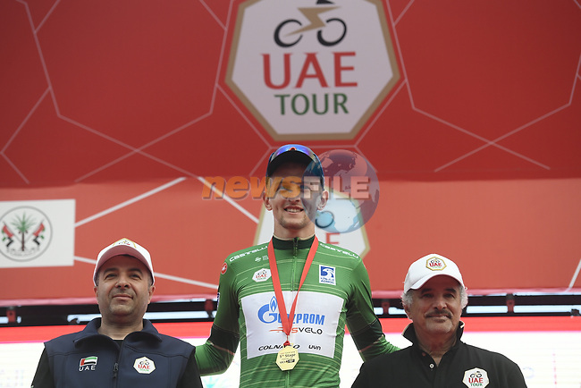 Stepan Kuriyanov (RUS) Gazprom–Rusvelo retains the Green Jersey at the end of Stage 5 of the 2019 UAE Tour, running 181km form Sharjah to Khor Fakkan, Dubai, United Arab Emirates. 28th February 2019.<br /> Picture: LaPresse/Fabio Ferrari | Cyclefile<br /> <br /> <br /> All photos usage must carry mandatory copyright credit (© Cyclefile | LaPresse/Fabio Ferrari)