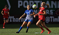 Portland, Oregon - Sunday September 4, 2016: Portland Thorns FC midfielder Lindsey Horan (7) and Boston Breakers midfielder Stephanie Verdoia (22) during a regular season National Women's Soccer League (NWSL) match at Providence Park.