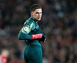 Ederson of Manchester City looks over his shoulder following his mistake during the Premier League match at Old Trafford, Manchester. Picture date: 8th March 2020. Picture credit should read: Darren Staples/Sportimage