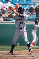 Lancaster JetHawks designated hitter Jacob Bosiokovic (44) at bat during a California League game against the San Jose Giants at San Jose Municipal Stadium on May 13, 2018 in San Jose, California. San Jose defeated Lancaster 3-0. (Zachary Lucy/Four Seam Images)