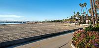 A view of the main beach by the pier one January morning, Santa Barbara, California.