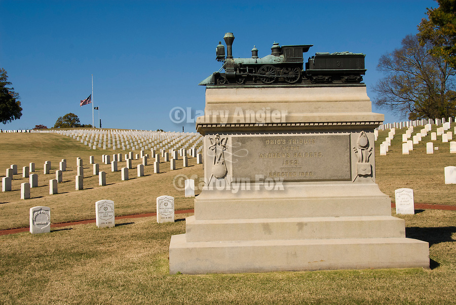 Chattanooga National Veterans Cemetery, autumn, Tenn...Monument to the memory of Andrew's Raiders and the Great Locomotive Chase, recipients of the first Medal of Honor.