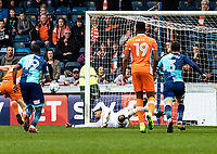 Goalkeeper Jamal Blackman of Wycombe Wanderers (on loan from Chelsea) saves a penalty in the final moments from Brad Potts of Blackpool during the Sky Bet League 2 match between Wycombe Wanderers and Blackpool at Adams Park, High Wycombe, England on the 11th March 2017. Photo by Liam McAvoy.