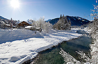 Germany, Bavaria, Upper Bavaria, Winter in Werdenfelser Land: river Isar at Upper Isar Valley