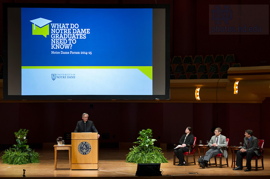 "Sept 15, 2014; Notre Dame University president Rev. John I. Jenkins, C.S.C., introduces the 2014-15 Forum theme  and speaker Carl Wieman, Nobel Prize winner and professor of physics at Stanford University. Wieman presented, ""Taking a Scientific Approach to Science Education"" at this year's inaugural event, ""What do Notre Dame Graduates Need to Know,"" at Leighton Concert Hall in the Debartolo Performing Arts Center. (Photo by Barbara Johnston/University of Notre Dame)"