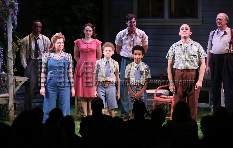 "Hampton Fluker, Jenni Barber, Francesca Carpanini, Alexander Bello, Monte Green, Benjamin Walker, Nehal Joshi and Tracy Letts during the Broadway Opening Night Curtain Call for ""All My Sons"" at The American Airlines Theatre on April 22, 2019  in New York City."