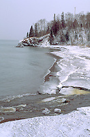 Lake Superior east shore in the winter. Lutsen Minnesota USA