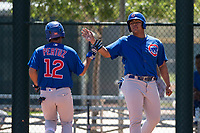 Chicago Cubs infielder Fabian Pertuz (12) is congratulated by Gustavo Polanco (3) after scoring a run during an Extended Spring Training game against the Los Angeles Angels at Sloan Park on April 14, 2018 in Mesa, Arizona. (Zachary Lucy/Four Seam Images)
