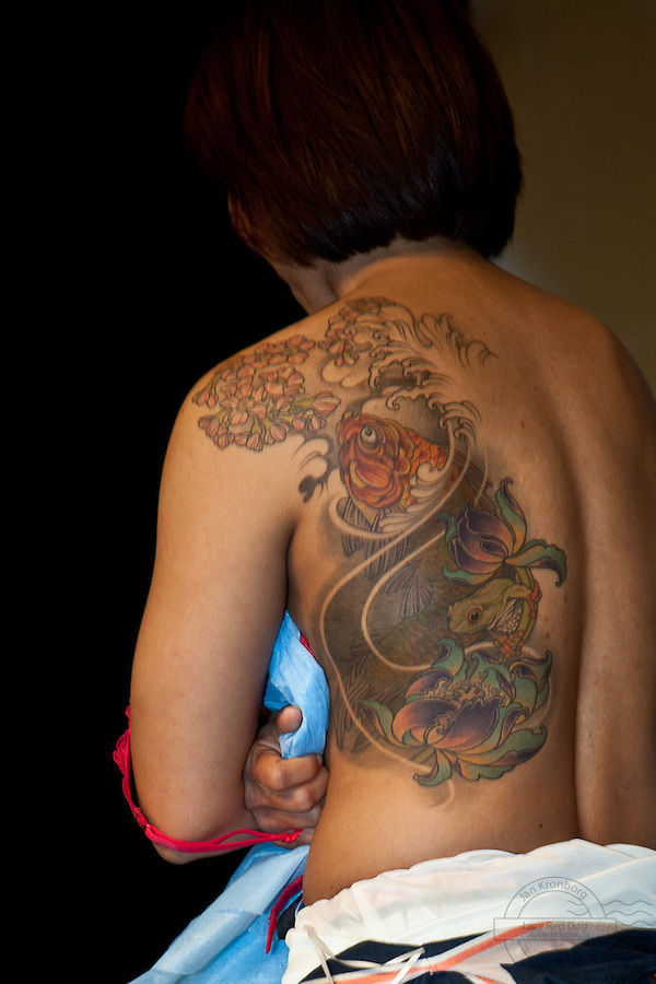 Copenhagen Inkfestival 2012. Koi fish and frog tattoo, japanese style.