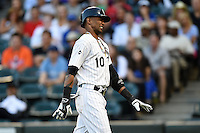 Chicago White Sox shortstop Alexei Ramirez (10) reacts to getting hit by a pitch in the hand during a game against the Toronto Blue Jays on August 15, 2014 at U.S. Cellular Field in Chicago, Illinois.  Chicago defeated Toronto 11-5.  (Mike Janes/Four Seam Images)