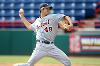 October 5, 2009:  Pitcher Luke Putkonen of the Detroit Tigers organization delivers a pitch during an Instructional League game at Space Coast Stadium in Viera, FL.  Putkonen was selected in the 3rd round of the 2007 MLB Draft.  Photo by:  Mike Janes/Four Seam Images