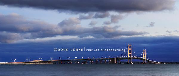 The Mackinaw Bridge Spanning Michigan's Upper And Lower Peninsulas On A Stormy Night, Michigan, USA