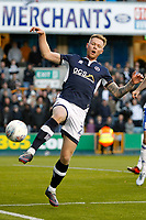 Aiden O'Brien of Millwall sees a cross pass him by during the Sky Bet Championship match between Millwall and Birmingham City at The Den, London, England on 21 October 2017. Photo by Carlton Myrie.