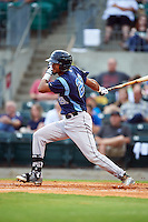 Corpus Christi Hooks designated hitter Danry Vasquez (21) at bat during a game against the Arkansas Travelers on May 29, 2015 at Dickey-Stephens Park in Little Rock, Arkansas.  Corpus Christi defeated Arkansas 4-0 in a rain shortened game.  (Mike Janes/Four Seam Images)