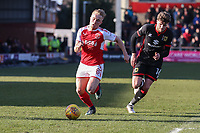 Kyle Dempsey of Fleetwood Town pursued by Robbie Muirhead of MK Dons during the Sky Bet League 1 match between Fleetwood Town and MK Dons at Highbury Stadium, Fleetwood, England on 24 February 2018. Photo by David Horn / PRiME Media Images