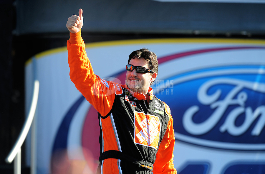 Nov. 16, 2008; Homestead, FL, USA; NASCAR Sprint Cup Series former champion Tony Stewart during the Ford 400 at Homestead Miami Speedway. Mandatory Credit: Mark J. Rebilas-