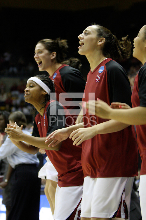 BERKELEY, CA - MARCH 30: Melanie Murphy, Michelle Harrison, Ashley Cimino and Grace Mashore cheer on their teammates during Stanford's 84-66 win against the Ohio State Buckeyes on March 28, 2009 at Haas Pavilion in Berkeley, California.