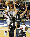 USA's Russell Westbrook (l) and Argentina's Emanuel Ginobili during friendly match.July 22,2012. (ALTERPHOTOS/Acero)