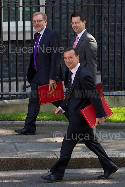 David Mundell MP (Secretary of State for Scotland), James Brokenshire MP (Secretary of State for Northern Ireland) & Alun Cairns MP (Secretary of State for Wales).<br /> <br /> London, 19/07/2016. First Cabinet meeting at 10 Downing Street (after the EU Referendum and consequent David Cameron's resignation) for the new Prime Minister Theresa May and her newly formed Conservative Government.<br /> <br /> For more information about the Cabinet Ministers: https://www.gov.uk/government/ministers