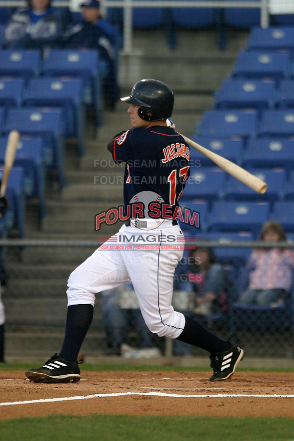 April 27, 2005:  Mike Jacobs of the Binghamton Mets during a game at Jerry Uht Park in Erie, PA.  Binghamton is the Eastern League Double-A affiliate of the New York Mets.  Photo by:  Mike Janes/Four Seam Images