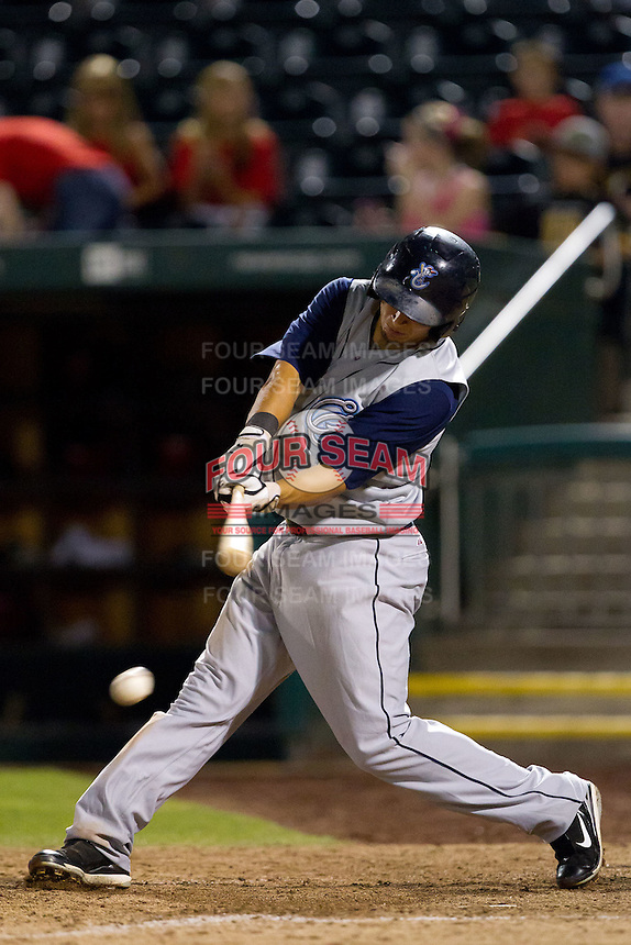Adam Bailey (51) of the Corpus Christi Hooks makes contact on a pitch during a game against the Springfield Cardinals at Hammons Field on August 13, 2011 in Springfield, Missouri. Springfield defeated Corpus Christi 8-7. (David Welker / Four Seam Images)