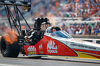 Jul 8, 2017; Joliet, IL, USA; NHRA top fuel driver Doug Kalitta during qualifying for the Route 66 Nationals at Route 66 Raceway. Mandatory Credit: Mark J. Rebilas-USA TODAY Sports