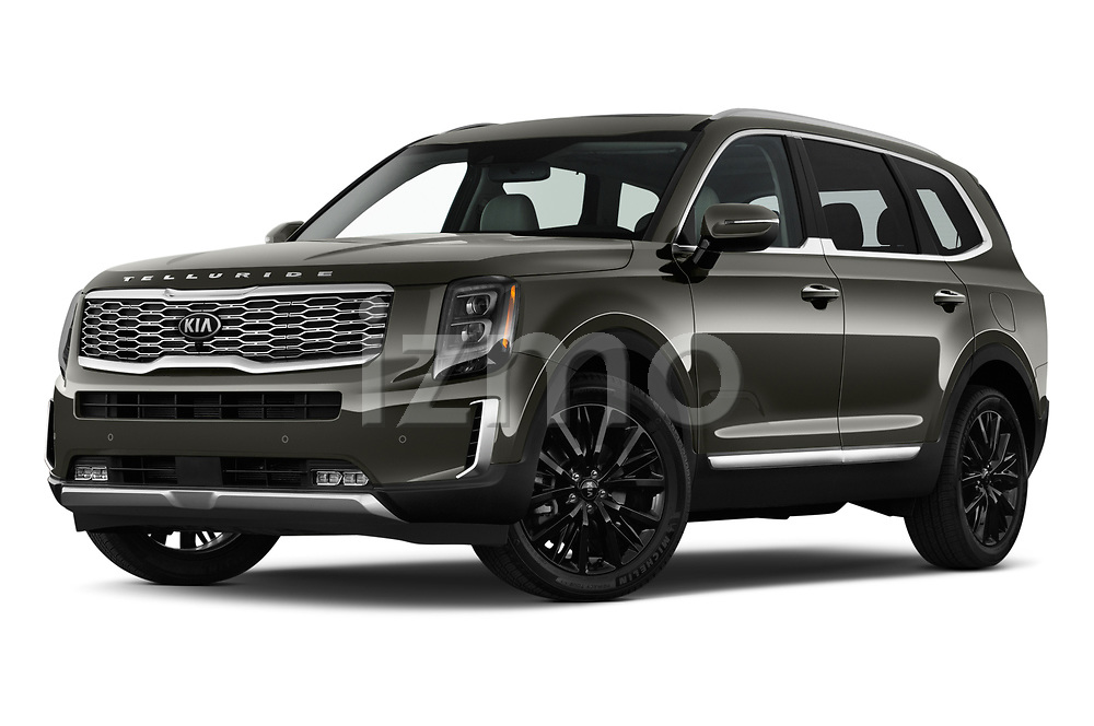 Stock pictures of low aggressive front three quarter view of a 2020 KIA Telluride SX 5 Door SUV
