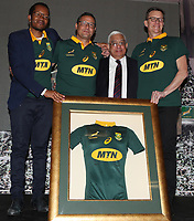 Enzo Scarcella (MTN), Mark Alexander (SARU) and Rob Shuter (MTN)  during the South African Official Springbok team photograph at the team hotel Southern Sun Pretoria Hotel,Pretoria South Africa. 9th June 2017(Photo by Steve Haag Sports)
