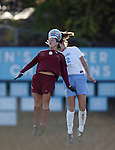 Florida State's Sel Kuralay (6) and Carolina's Yael Averbuch (behind) challenge for a header on Friday, November 25th, 2005 at Fetzer Field in Chapel Hill, North Carolina. The Florida State Seminoles defeated the University of North Carolina Tarheels 5-4 on penalty kicks after the teams tied 1-1 after overtime during their NCAA Women's Soccer Tournament quarterfinal game.